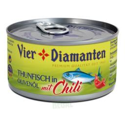 Vier Diamanten Thunfisch in Olivenöl mit Chili